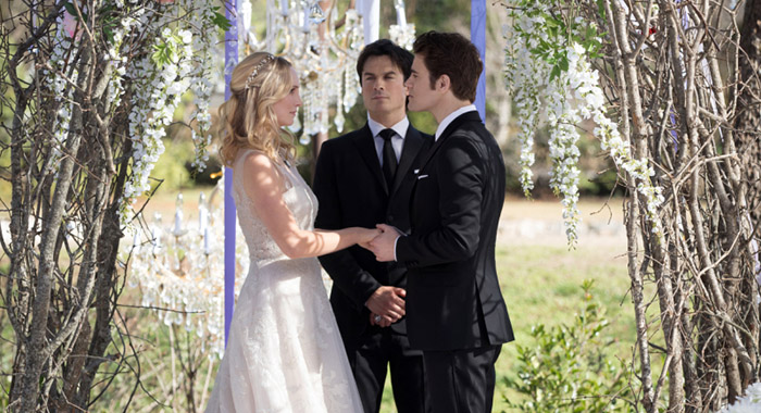 Candice King as Caroline, Ian Somerhalder as Damon and Paul Wesley as Stefan in The Vampire Diaries (Bob Mahoney/The CW)