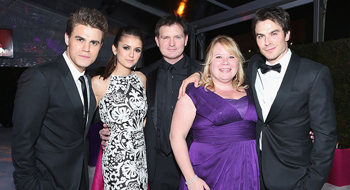 Paul Wesley and Nina Dobrev, Director Kevin Williamson, writer Julie Plec and Ian Somerhalder (Alexandra Wyman/Getty Images for Grey Goose Vodka)