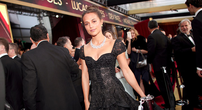 Alicia Vikander at the Academy Awards in Los Angeles in 2017 (Christopher Polk/Getty Images)