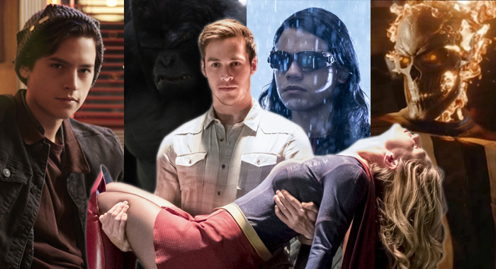 Cole Sprouse as Jughead in Riverdale, Gorilla Grodd on The Flash, Chris Wood as Mon-El on Supergirl, Carlos Valdes as Cisco on The Flash (all The CW); Gabriel Luna as Ghost Rider on Agents of SHIELD (ABC)