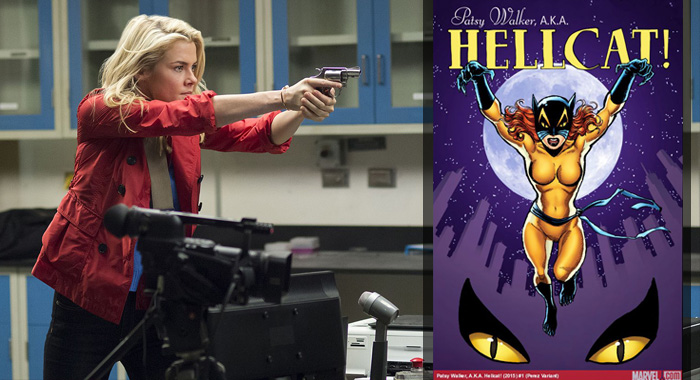Trish Walker (Rachael Taylor) from Jessica Jones (Netflix); Hellcat comic (Marvel Comics)