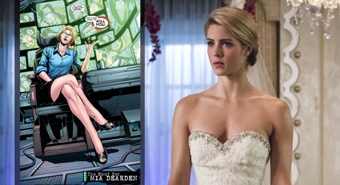 Felicity Smoak in Green Arrow (2011-2016) Vol. 35 (DC Comics); Emily Bett Rickards in Arrow (Katie Yu /The CW)