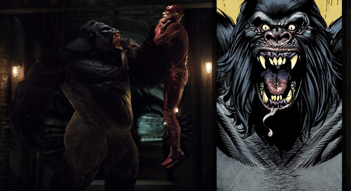 Grodd and Grant Gustin in The Flash (The CW); Gorilla Grodd (DC Comics)