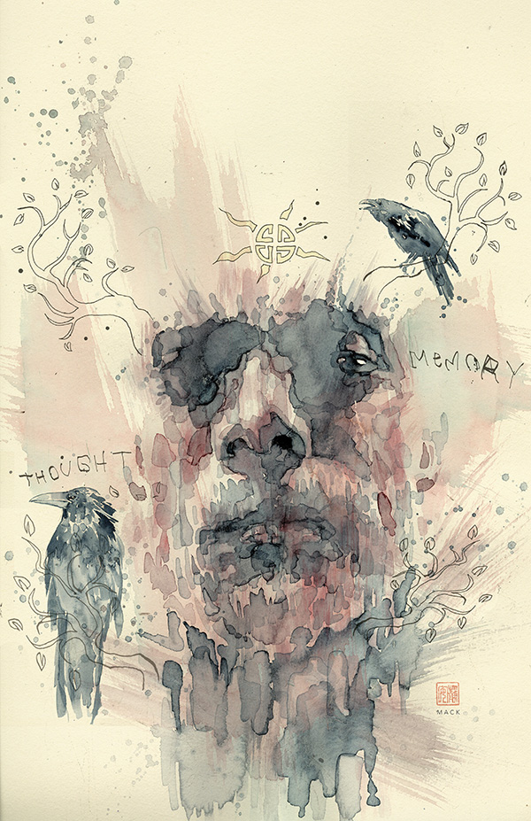 American Gods #2 variant cover by David Mack (Dark Horse Comics, Inc.)
