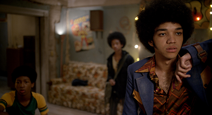 Justice Smith (foreground) with Skylan Brooks and Jaden Smith in The Get Down (Netflix)