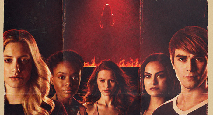 Riverdale -- Image Number: RVD2_CarriePoster.jpg -- Pictured (L-R): -- Lili Reinhart as Betty, Ashleigh Murray as Josie, Madelaine Petsch as Cheryl, Camila Mendes as Veronica and KJ Apa as Archie -- Photo: Katie Yu/The CW -- © 2018 The CW Network, LLC. All Rights Reserved.