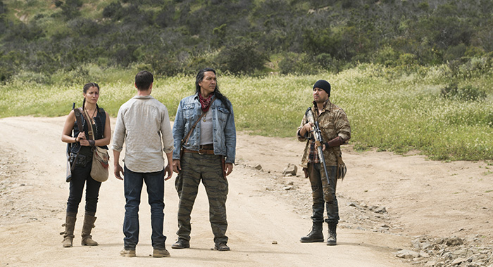 Mercedes Mason as Ofelia Salazar, Sam Underwood as Jake Otto, Michael Greyeyes as Qaletqa Walker, Justin Rain as Crazy Dog - Fear the Walking Dead (Richard Foreman, Jr/AMC)