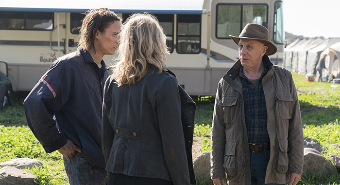 Kim Dickens as Madison Clark, Frank Dillane as Nick Clark, Dayton Callie as Jeremiah Otto - Fear the Walking Dead (Michael Desmond/AMC)
