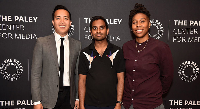Alan Yang, Aziz Ansari and Lena Waithe (Theo Wargo/Getty Images)