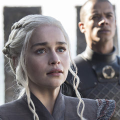Emilia Clarke, Jacob Anderson, Game of Thrones season 7, episode 1 (Helen Sloan/courtesy of HBO)