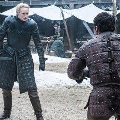 Gwendoline Christie, Daniel Portman, Game of Thrones season 7, episode 1 (Helen Sloan/courtesy of HBO)