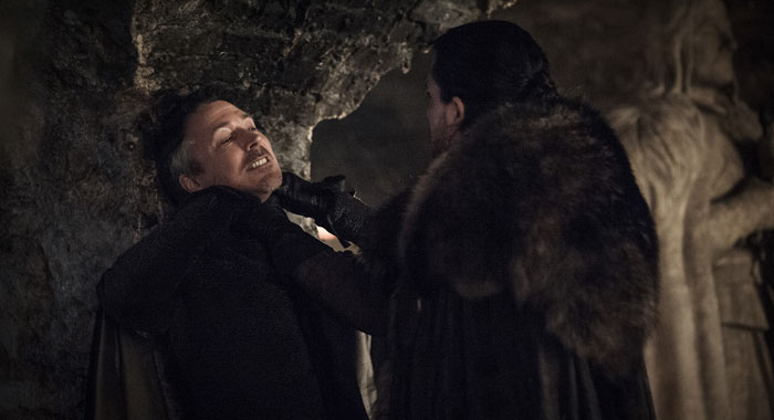 Aidan Gillen as Littlefinger and Kit Harington as Jon Snow (Helen Sloan/HBO)