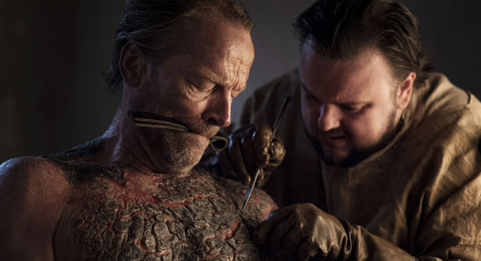 Iain Glen as Jorah Mormont and John Bradley as Samwell Tarly (Helen Sloan/HBO)