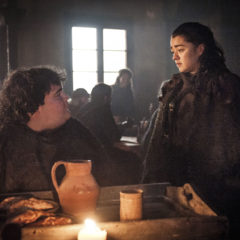 Game of Thrones, season 7: Ben Hawkey as Hot Pie and Maise Williams as Arya Stark (Helen Sloan/HBO)