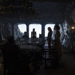 Game of Thrones, season 7:Conleth Hill as Varys, Jacob Anderson as Grey Worm, Nathalie Emmanuel as Missandei, Diana Rigg as Olenna Tyrell, Peter Dinklage as Tyrion Lannister, Emilia Clarke as Daenerys Targaryen, Gemma Whelan as Yara Greyjoy, Indira Varma as Ellaria Sand, and Alfie Allen as Theon Greyjoy (From Left to Right) – Photo: Helen Sloan/HBO