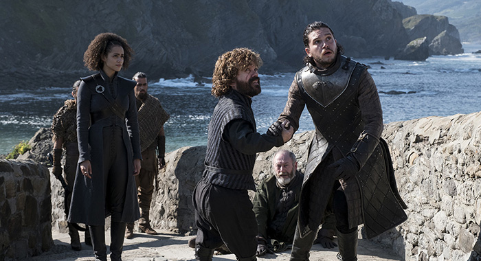 Game of Thrones, s7ep3 - Nathalie Emmanuel, Peter Dinklage, Liam Cunningham, and Kit Harington – Photo: Macall B. Polay/HBO