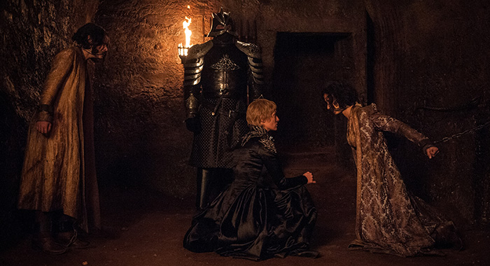 Game of Thrones, s7ep3 - Rosabell Laurenti Sellers, Hafþór Júlíus Björnsson, Lena Headey, and Indira Varma – Photo: Helen Sloan/HBO