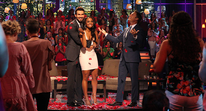 "BRYAN ABASOLO, RACHEL LINDSAY, CHRIS HARRISON ""The Bachelorette: The Three Hour Live Finale,"" (ABC/Paul Hebert)BRYAN ABASOLO, RACHEL LINDSAY ""The Bachelorette: The Three Hour Live Finale,"" (ABC/Paul Hebert)"