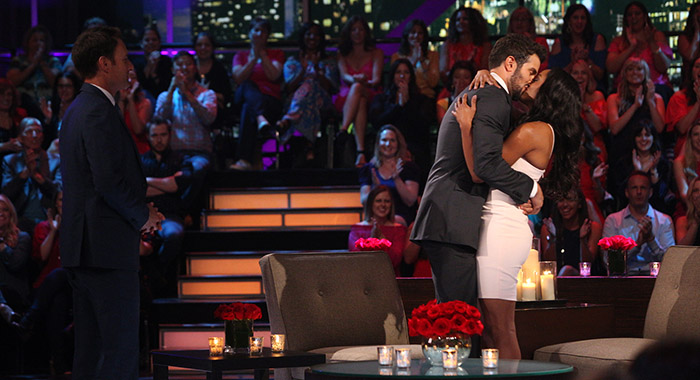 "host CHRIS HARRISON, BRYAN ABASOLO, RACHEL LINDSAY, host CHRIS HARRISON ""The Bachelorette: The Three Hour Live Finale,"" (ABC/Paul Hebert)BRYAN ABASOLO, RACHEL LINDSAY ""The Bachelorette: The Three Hour Live Finale,"" (ABC/Paul Hebert)"