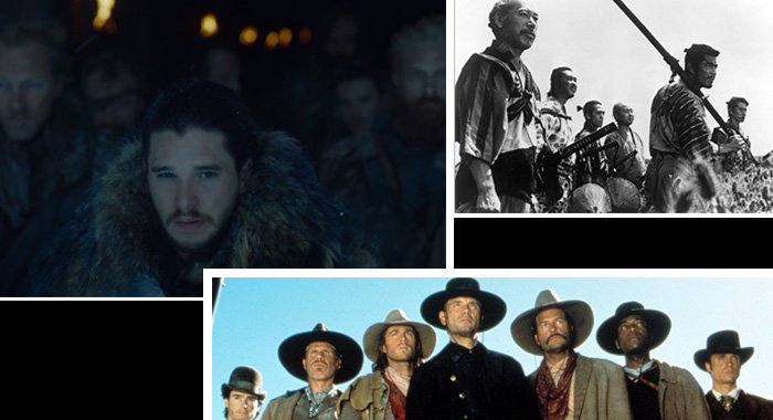 "Game of Thrones season 7 ""Eastwatch"" (HBO); The Seven Samurai (Courtesy Everett Collection); The Magnificent Seven (©MGM/Courtesy Everett Collection)"