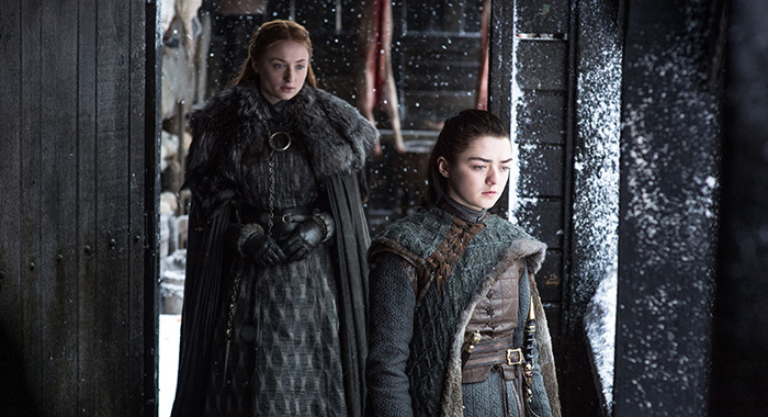 Sophie Turner, Maisie Williams in Game of Thrones season 7, episode 6 (Helen Sloan/HBO)
