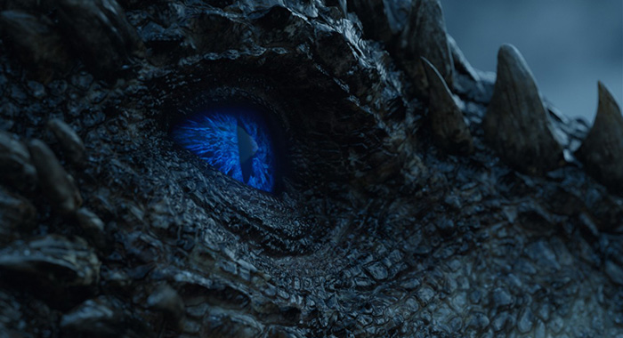 Viserion blue eyes Game of Thrones season 7, episode 6 (HBO)