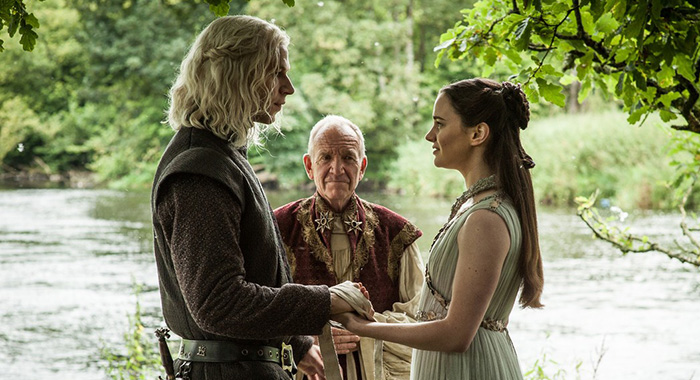 Prince Rhaegar, High Septon Maynard, Lyanna Stark in Game of Thrones, season 7, episode 7 (Helen Sloan/HBO)