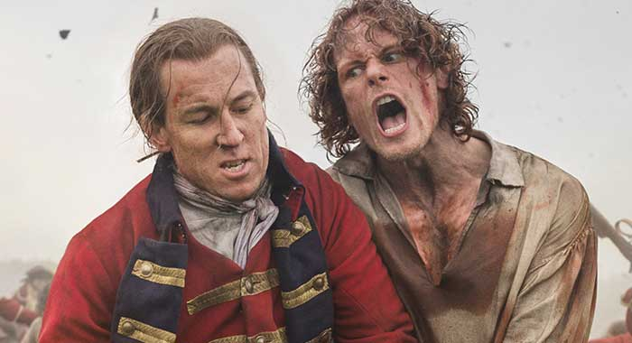 Tobias Menzies, Sam Heughan in season 3 of Outlander (Starz)