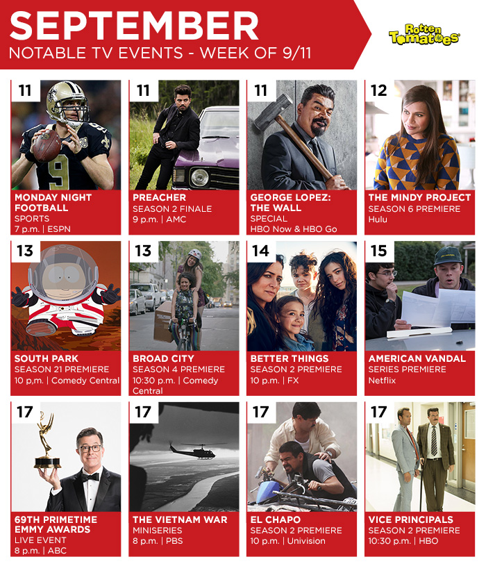 Notable tV events Sept. 11, 2017