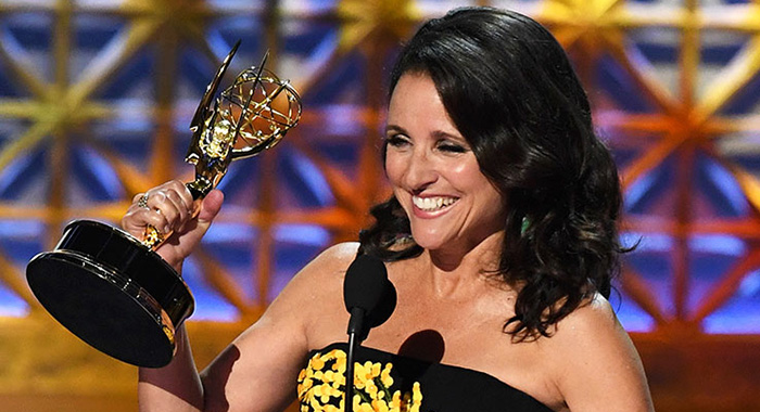 LOS ANGELES, CA - SEPTEMBER 17: Actor Julia Louis-Dreyfus accepts Outstanding Lead Actress in a Comedy Series for 'Veep' onstage during the 69th Annual Primetime Emmy Awards at Microsoft Theater on September 17, 2017 in Los Angeles, California. (Photo by Kevin Winter/Getty Images)