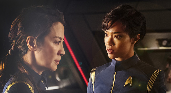 Michelle Yeoh as Captain Philippa Georgiou; Sonequa Martin-Green as First Officer Michael Burnham. STAR TREK: DISCOVERY (Jan Thijs/CBS Interactive)