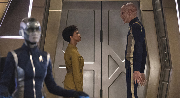 Sonequa Martin-Green, Doug Jones in STAR TREK: DISCOVERY (Michael Gibson/CBS)