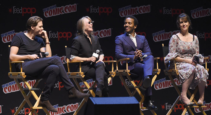 Bill Skarsgard, Sissy Spacek, Andre Holland and Melanie Lynskey speak onstage at the Castle Rock Panel during the New York Comic Con (Nicholas Hunt/Getty Images)