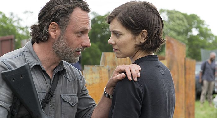 Andrew Lincoln as Rick Grimes, Lauren Cohan as Maggie Greene - The Walking Dead (Gene Page/AMC)