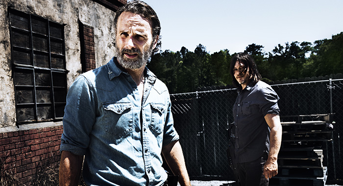 Andrew Lincoln as Rick Grimes, Norman Reedus as Daryl Dixon - The Walking Dead (Alan Clarke/AMC)