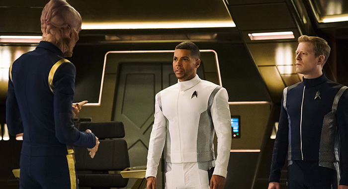Doug Jones as Lieutenant Saru; Wilson Cruz as Dr. Hugh Culber; Anthony Rapp as Lieutenant Paul Stamets of the CBS All Access series STAR TREK: DISCOVERY (Jan Thijs/CBS)