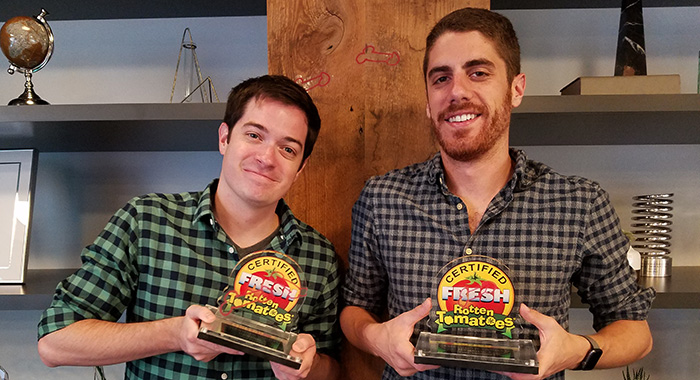"Dan Perrault and Tony Yacenda, creators of Netflix series ""American Vandal"" stop by Rotten Tomatoes offices (Debbie Day)"