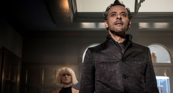 GOTHAM: L-R: Erin Richards and Alexander Siddig (Jeff Neumann/FOX)
