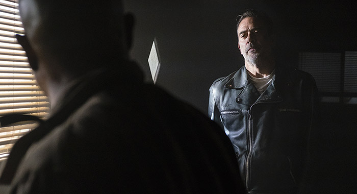 Jeffrey Dean Morgan as Negan, Seth Gilliam as Father Gabriel Stokes - The Walking Dead _ Season 8, Episode 1 (Gene Page/AMC)