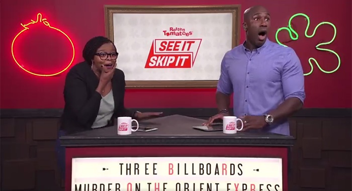 "Jaqueline and Segun host Rotten Tomatoes ""See It/Skip It"" Facebook show"