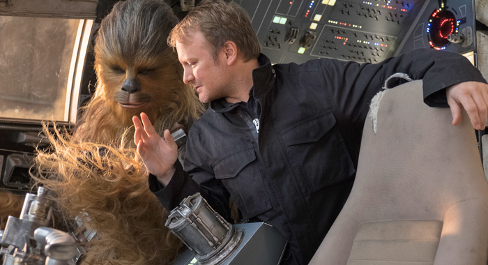 Rian Johnson with Chewbacca on set for Star Wars: The Last Jedi