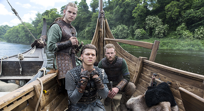 "From left to right: Hvitserk (Marco Ilsø), Ivar the Boneless (Alex Høgh Andersen) and Ubbe (Jordan Patrick Smith) from HISTORY's ""Vikings."" Season five premieres Nov. 29. Photo by Jonathan Hession Copyright 2017 Hvitserk (Marco Ilsø), Ivar the Boneless (Alex Høgh Andersen) and Ubbe (Jordan Patrick Smith) in Vikings, season 5 (PHOTO CREDIT: Jonathan Hession/History)"