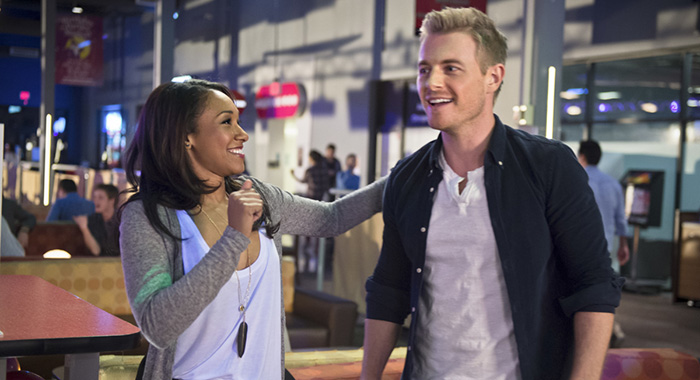 "Candice Patton as Iris West and Rick Cosnett as Detective Eddie Thawne in The Flash -- ""Out of Time"" (Diyah Pera/The CW)"
