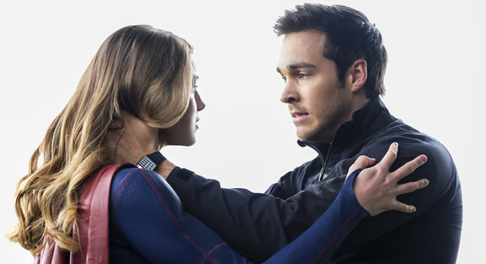 "Melissa Benoist as Kara/Supergirl and Chris Wood as Mike/Mon-El in Supergirl -- ""Nevertheless, She Persisted"" (Bettina Strauss/The CW)"