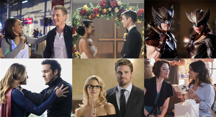 The CW superhero couples (Diyah Pera; Bettina Strauss; Michael Courtney; Dean Buscher; Bettina Strauss /The CW)