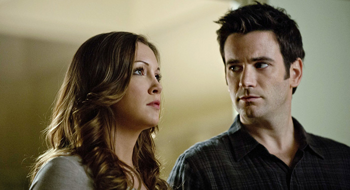 "Katie Cassidy as Laurel Lance and Colin Donnell as Tommy Merlyn in Arrow -- ""Unfinished Business"" (Cate Cameron/The CW)"