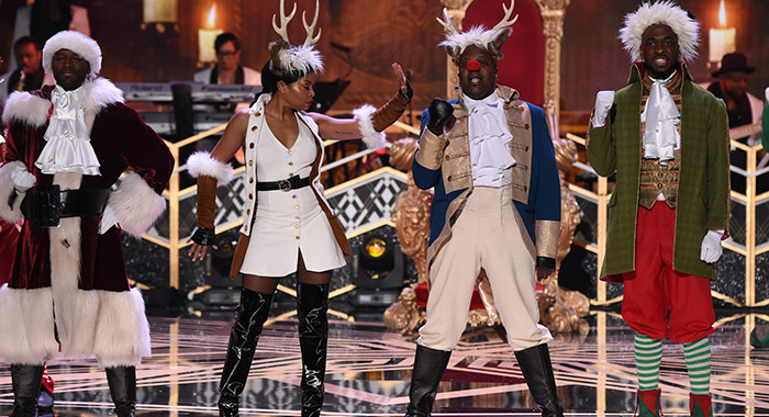 TARAJI'S WHITE HOT HOLIDAYS - Taye Diggs, Taraji P. Henson, Tituss Burgess and Jay Pharoah (Michael Becker/FOX)