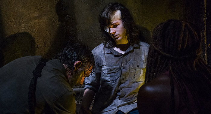Andrew Lincoln as Rick Grimes, Chandler Riggs as Carl Grimes, Danai Gurira as Michonne - The Walking Dead _ Season 8, Episode 8 (Gene Page/AMC)