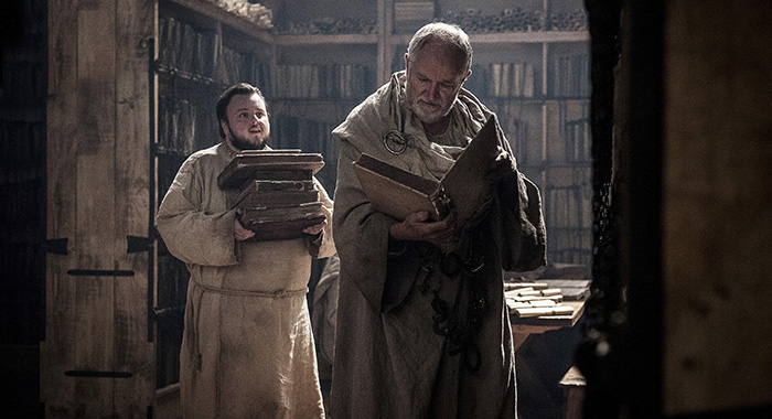 Game of Thrones: Episode 62 (season 7, episode 2), debut 7/23/17: John Bradley, Jim Broadbent. photo: Helen Sloan/courtesy of HBO