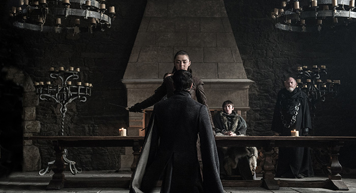 Game of Thrones: Episode 67 (season 7, episode 7), debut 8/27/17: Maisie Williams, Aiden Gillen, Isaac Hempstead Wright. photo: Helen Sloan/courtesy of HBO